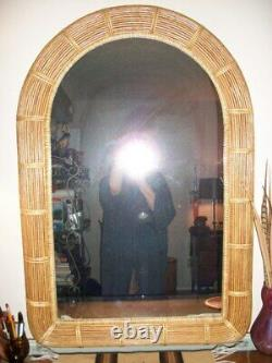 Vintage Gabriella Crespi Italian Style Large Reeded Bamboo Wall Mirror