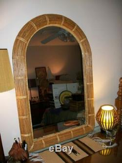 Vintage Isaballa Crespi Italian Style Large Reeded Bamboo Wall Mirror