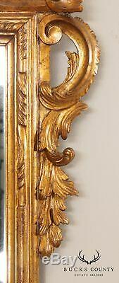 Vintage Italian Gilt Wood Large Rococo Wall Mirror