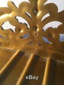 Vintage LARGE HOMCO SYROCO ORNATE GOLD Ormolu MIRROR WALL Shelf MCM +2 Side