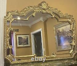 Vintage Large Carved Gold Frame Wall Hanging Mirror 49 X 66