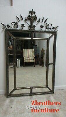 Vintage Large French Regency Carved Wood Frame Hanging Wall Mirror Uttermost