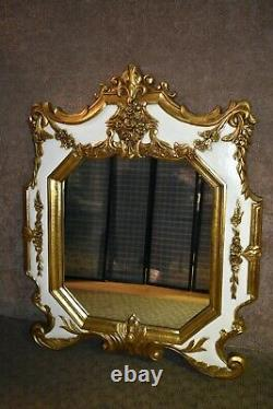 Vintage Large Ornate White & Gold Italian Provincial Style Wall Mirror