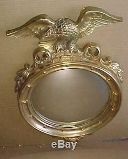 Vintage Large Syroco Eagle Convex Mirror MID Century Modern 1960 Wall Hanging