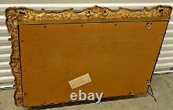 Vintage Large Syroco Style Hollywood Regency Gold Ornate Framed Wall Mirror