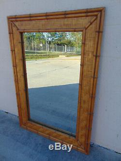 Vintage Large Woven Rattan Faux Bamboo Mirror by Dixie Coastal Hollywood Regency