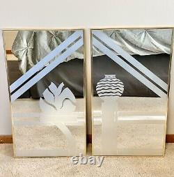 Vintage Mirror Frosted Etched Leaf Vase MCM Picture Gold Wall Hanging Large 2