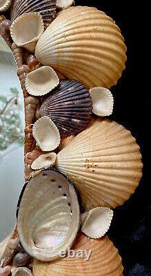 Vintage Seashell Mirror Large Oval Abalone Scallops Beach Cottage Decor 18 x 23