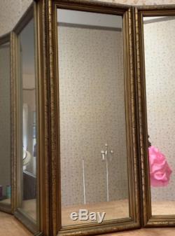 Vintage Vanity Mirror 3 Panel Tri-Fold Frameless Wall Mount Large