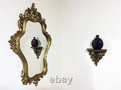 Vintage Wall Mirror Large Gold SYROCO Ornate Mid century Regency Dated 1958