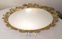 Vintage ornate large oval Rococò style gold gilt mirror jewelry tray dish wall