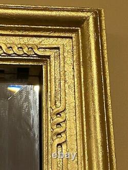Vtg Large Gold Gilt Solid Wood Frame Carved Flower Detail Wall Mirror 52 X 38