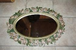Vtg Large Ornate Floral Rose Wall MirrorHome Interior