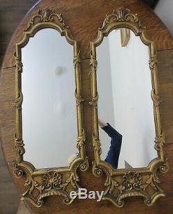 Vtg. Large Pair Stylized Country French, Art Nouveau Framed Wall Mirrors, 10x28