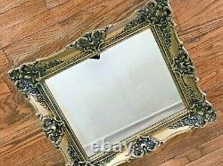 Vtg MCM Gold Plastic Ornate Hollywood Regency Baroque Large Wall Mirror 26x22