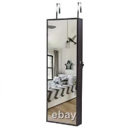 Wall Door Mounted Jewelry Mirror Cabinet Armoire Large Box Organizer Brown withLED