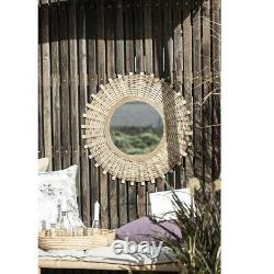 Wall Hanging Round Mirror With Bamboo Braid by Ib Laursen