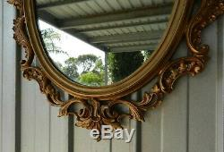 Wall Mantle Mirror Rococo Style Scrolled Gold Gilt Syroco Ornate Large Vintage