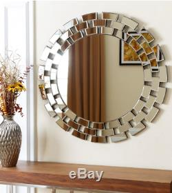 Wall Mirror Large Round Frameless Modern Contemporary Home Accent Art Decor 36