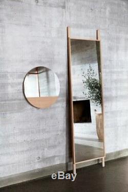 Wall Round Hanging Mirror Witch Oak 50 cm Danish Design by Hubsch