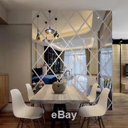 Wall Sticker 3D Acrylic Mirror Diamond Living Room Decoration Art DIY Home Decor