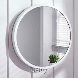 White Round Large Bedroom Bathroom Wall Mirror Simply Elegant 55CM Contemporary