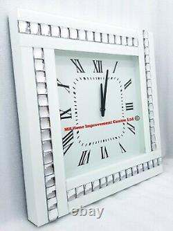 White Wall Clock Square Mirrored Sparkly Silver Crystal Border Large 45x45cm