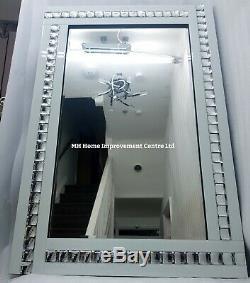 White Wall Mirror Elegant Sparkly Silver Crystal Border Large 120X80cm Glitz