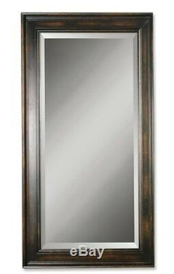 XL Extra Large Masculine Dark Wood Wall Mirror 70 Oversize Mahogany Full Length