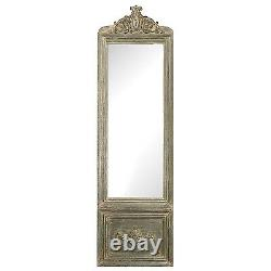 XL French Vintage Restoration Gray Wash Carved Large Floor Wall Dresing Mirror